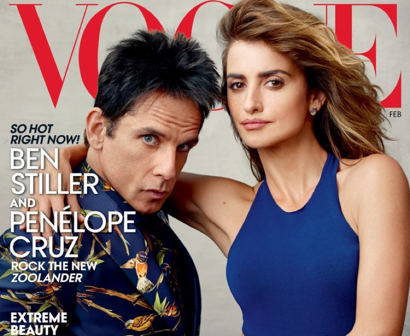 ZOOLANDER STARS THE COVER OF VOGUE US FEBRUARY ISSUE