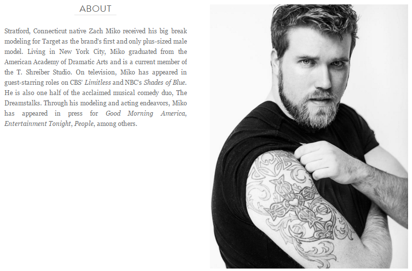 ZACH MIKO THE VERY FIRST PLUS-SIZED MODEL SIGNED BY IMG